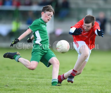 Liam Curtin of Rineen in action against Ciaran Mc Carthy of Kilmurry Mc Mahon/Labasheeda during their Primary Schools Div 4 Football 9-Aside final at Kilrush. Photograph by John Kelly