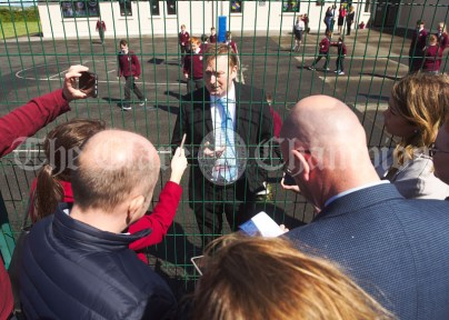 Doonbeg NS Principal Neil Crowley is intervened by the waiting media, as a visit from Melania Trump is rumored during the visit of President of the United States Of America Donald J. Trump. Photograph by John Kelly.