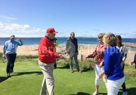 President Trump meeting staff on 10th tee box. L to R Aideen O Mahoney, Mary Rita Kelly and Michelle Crowley. Photograph courtesy Aideen O Mahoney.