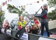 The girls promoting local glamping and activities during the annual parade as part of the Dan Furey Festival in Labasheeda. Photograph by John Kelly