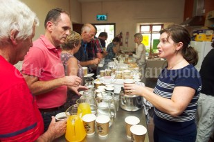 Lourda Bermingham giving out refreshments during the Ceili, with the Johnny Reidy Ceili Band, as part of the Dan Furey Festival in Labasheeda. Photograph by John Kelly
