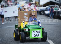 Young Jack Reidy travelling in style during the Cultural Parade as part of the annual Festival Of Fun in Kilmihil. Photograph by John Kelly