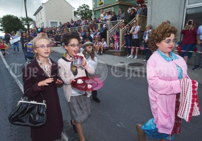 Lily Larkin, Grace Lorigan and Holly Mc mahon take the Fr Ted theme to town during the Cultural Parade as part of the annual Festival Of Fun in Kilmihil. Photograph by John Kelly