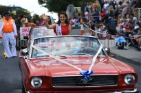 Victoria O Connell, The Clare Rose of Tralee waves to the crowd during the Cultural Parade as part of the annual Festival Of Fun in Kilmihil. Photograph by John Kelly