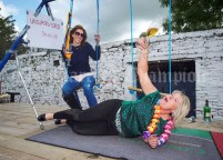 Ellen Hubbard and Mary Mc Mc Carthy/Mc Mahon demonstrate the dangers of drinking on a swing during the Cultural Parade as part of the annual Festival Of Fun in Kilmihil. Photograph by John Kelly