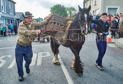 Jimmy and Danny O Dea bringing home the turf during the Cultural Parade as part of the annual Festival Of Fun in Kilmihil. Photograph by John Kelly