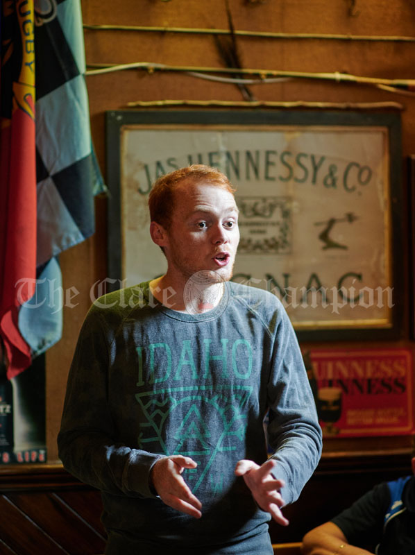 Kieran Moroney tells a story during a sessiun at Buggles as part of the Kilrush Traditional Music & Set Dancing Festival. Photograph by John Kelly