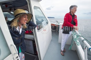 Olympia O Dea and Eileen O Brien take in the Atlantic views during the Romantic RNLI Cruise held in association with Bill O Brien's Doolin Ferry Company. Photograph by John Kelly