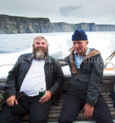 Fanore's Martin Driscoll and Michael Queally enjoying during the Romantic RNLI Cruise held in association with Bill O Brien's Doolin Ferry Company. Photograph by John Kelly