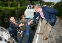 020819 John McDonagh, Acting CEO Waterways Ireland and Author Susan McKay are greeted by Minister Pat Breen TD as they land in Scariff harbour on Friday evening.pic Arthur Ellis.