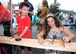 020819 Zachary Psillos (6) and his sister Esma crafting at the Scariff harbour festival on Sunday.pic Arthur Ellis.