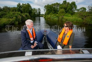 020819 John McDonagh, Acting CEO Waterways Ireland and Author Susan McKay make their way to Scariff harbour on Friday evening.pic Arthur Ellis.