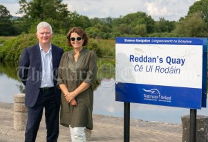 020819 John McDonagh, Acting CEO Waterways Ireland and Author Susan McKay stop off at Reddans Quay, Tuamgraney, on their way to Scariff harbour on Friday evening.pic Arthur Ellis.