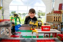 310819 Ryan White,Cork, with his LEGO railway at Clarecastle Show on Saturday.Pic Arthur Ellis.