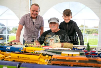 310819 3 generations Christian, John and Ryan White, Cork, with their model railway at Clarecastle Show on Saturday.Pic Arthur Ellis.