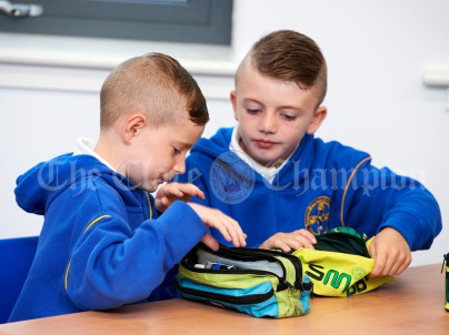 Gino Jykyracou and Martin Mongans in second class during the first day of school at the newly built Ennis CBS primary school. Photograph by John Kelly