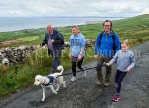 Michael Conlan, Siobhan, Caoimhe and Keir Mc Namara, with Jessa on the Burren Ramble in aid of the RNLI at Fanore. Photograph by John Kelly