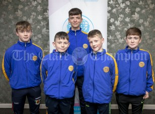 270919 Community Games All Stars L-R Lorcan O'Connor, Quin Clooney, Diarmuid McMahon, Ballynacally, Cormac Byrne, Miltown, Jerry O'Connor, Quin Clooney and Cathal Culloo, Tulla . Pic Arthur Ellis.