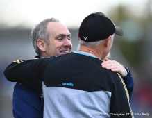 David O Brien, Miltown manager and Aiden Moloney, Kilmurry Ibrickane manager embrace on the sideline following their senior football county final draw at Cusack Park. Photograph by John Kelly.