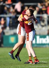 Michael Murray and Gearoid Burke of Miltown celebrate following their senior football county final replay win over KIB at Cusack Park. Photograph by John Kelly.