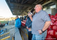 Joe Cullen sings a Miltown anthem during the cup presentation following their senior football county final replay win over KIB at Cusack Park. Photograph by John Kelly.