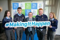 REPRO FREE 260919 Launching Local Enterprise Office Student Enterprise Programme 2019 was Finbar Tuohy, Local Enterprise Office Clare, with students from Ennistymon Vocational School during Student Enterprise Induction Day at The Armada Hotel in Spanish Point.Pic Arthur Ellis.
