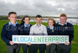 REPRO FREE 260919 Launching Local Enterprise Office Student Enterprise Programme 2019 at The Armada Hotel Spanish Point was Declan Meaney, Local Enterprise Office Clare, with students from Ennistymon Vocational School.Pic Arthur Ellis.