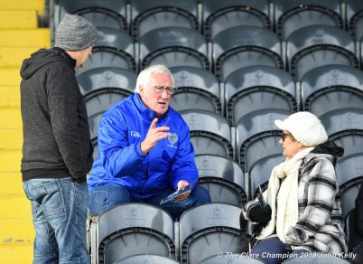 Kerry football ledgend Pat Spillane chats with fellow supporters before the Munster Club Intermediate final between St Breckan's and Templenoe at Mallow. Photograph by John Kelly
