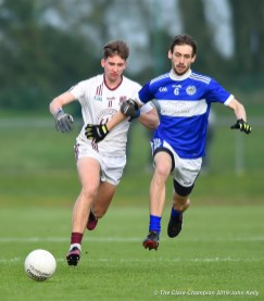 Padraig Kelly of St Breckan's in action against Tom Spillane of Templenoe during their Munster Club Intermediate final at Mallow. Photograph by John Kelly