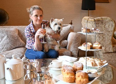 Shelly and Daisy enjoying afternoon tea at the Lords of the Manor.