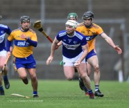 Ciaran Mc Evoy of Laois in action against Stephen O Halloran and David Reidy of Clare during their National League game at Cusack Park. Photograph by John Kelly