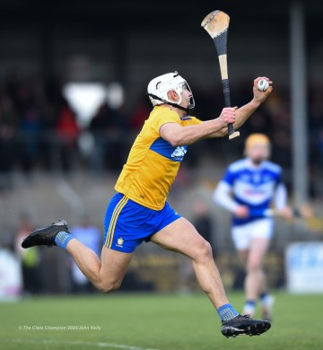 Aron Shanagher of Clare catches a ball during their National League game against Laois at Cusack Park. Photograph by John Kelly