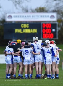 St Flannan's stand in a huddle before their Harty Cup final against CBC Cork at Mallow. Photograph by John Kelly