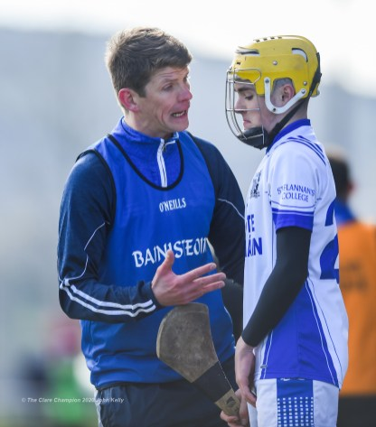 St Flannan's manager Kevin O Grady on the sideline with Ryan Power during their Harty Cup final against CBC Cork at Mallow. Photograph by John Kelly