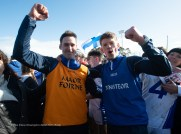 St Flannan's coach Brendan Bugler and manager Kevin O Grady celebrate on the final whistle during their Harty Cup final against CBC Cork at Mallow. Photograph by John Kelly