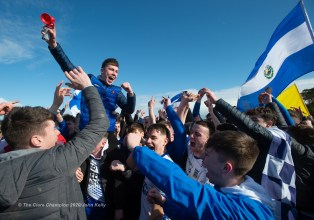 Flannan's fans and players on the final whistle during their Harty Cup final against CBC Cork at Mallow. Photograph by John Kelly