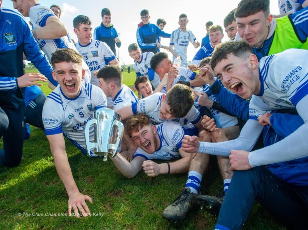 St Flannan's lads celebrate with the cup following their Harty Cup final against CBC Cork at Mallow. Photograph by John Kelly