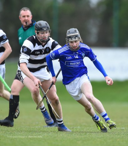 Diarmuid Cahill of St Flannan's in action against Padraic Moylan of St. Kieran's College Kilkenny during their Croke Cup quarter final at Mallow. Photograph by John Kelly