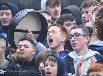 St Flannan's fans cheer on their team during their Croke Cup quarter final at Mallow. Photograph by John Kelly
