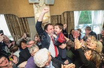 Cathal Crowe, (FF) celebrates his election with his son Sam at the Clare General Election 2020 count in The Falls Hotel, Ennistymon. Photograph by John Kelly.