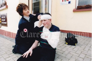 Red Cross Instructor Kitty Pender demonstrating on pupil Ian McInerney at the VEC Youthreach Centre in Miltown Malbay