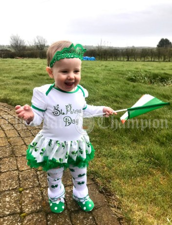 Anya Brígh Calvert (14 months old ; Ardcath, Co. Meath) wishing everyone, especially her family in Lisdoonvarna, a Happy Paddy's Day.