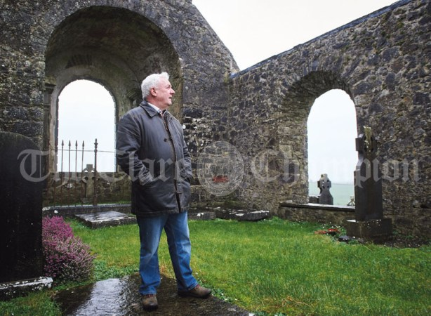 Brian Torpey, Tulla 1400 organising committee member, in the old St Mochulla's church ruin. the group are celebrating the 1400th anniversary of Mochulla's first monastery on the Hill Of Tulla. Photograph by John Kelly
