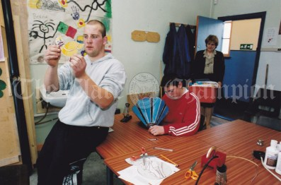 Busy working on their glass projects at the VEC Youthreach Centre in Miltown Malbay ar Austin Kinnane and Noel Mullane and their tutor Sarah Moore. Photograph by John Kelly