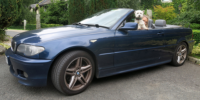 I could get very used to travelling in a convertible. It's the human's 325i.