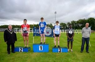 Winners of the Boys U16 200m event were: 1st Fionn O'Mara (Killanena-Flagmount), 2nd Daire Culligan (Ballynacally-Lissycasey), 3rd Aidan Considine (Cooraclare-Cree) and 4th Prince Shonibare (Ennis-St-Johns). Photography by Eugene McCafferty