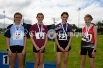 Winners of the Girls 800m event: (l-r) 2nd Aoife Lillis (Cooraclare-Cree), 1st Faye Mannion (Doora-Barefield), 3rd Clara Keogh (Carrigaholt-Cross) and 4th Sophie Maher (Ballynacally-Lissycasey). Photography by Eugene McCafferty