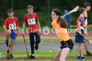 Kate Kennedy from Newmarket on Fergus competing in the Girls U14 Long Puck. Photography by Eugene McCafferty