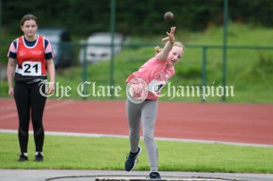 Sarah Crowe from Ennis-St-Johns competing in the shot putt event during Clare Community Games athletics finals. Photography by Eugene McCafferty
