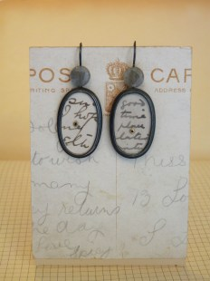 Earrings with postcard ovals + labradorite beads (oval + bead is 35mm long plus hook) was £105 / now £50